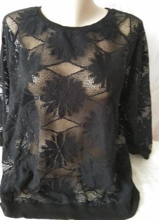 Блузон/свитшот/футболка с гипюра с трикотажными резинками большого размера