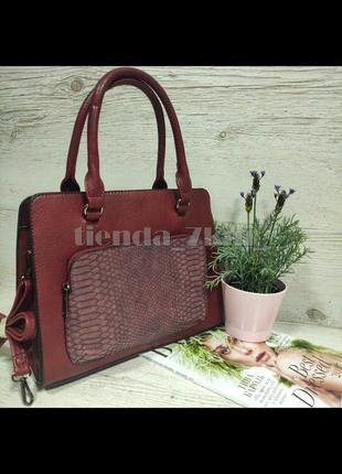 Женская сумка с наружным карманом e7100 бордовая