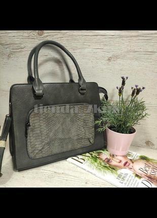 Женская сумка с наружным карманом e7100 серая