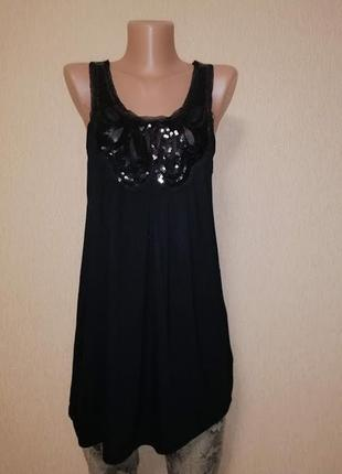 🔥🔥🔥стильная женская черная удлиненная майка, туника, блузка miss selfridge🔥🔥🔥