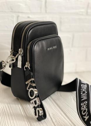 Кроссбоди / сумочка с длинным ремешком michael kors, чёрная