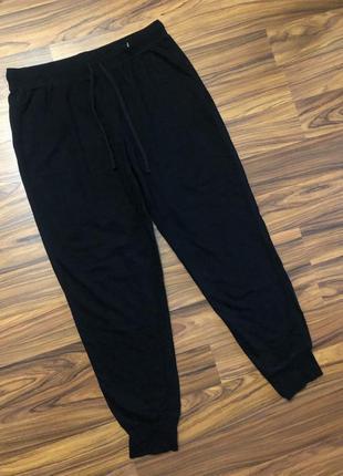 Котоновые чёрные женские спортивные домашние штаны h&m