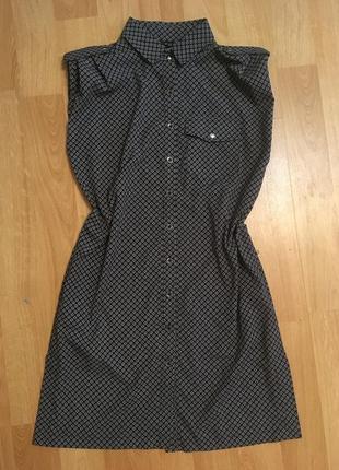 Платье рубашка в черно белый принт (узор цветы)