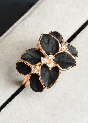 Кольцо чёрная орхидея