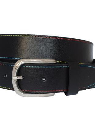 Rainbow7 кожаный женский ремень черный с цветной строчкой пояс для джинсов пасок ремінь