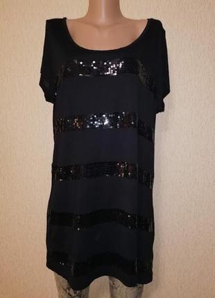 🔥🔥🔥женская черная трикотажная удлиненная футболка, кофта, туника с пайеткой, блузка h&m🔥🔥🔥