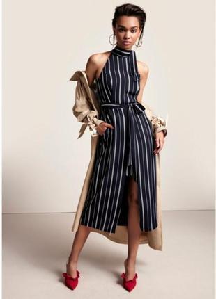 Стильное миди платье в полоску с карманами