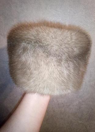 Зимняя женская меховая шапка голубая норка норковая шапка