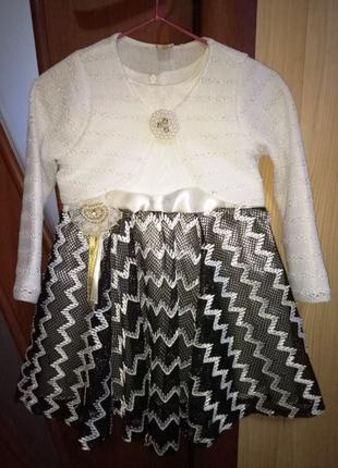 Нарядный черно-белый комплект в идеале - платьице и болеро