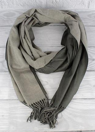 Кашемировый двусторонний шарф, палантин серый