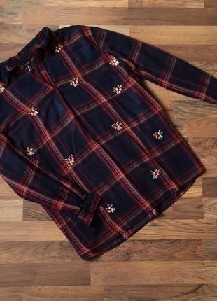 Качественная вискозная стильная рубашка в клетку цвет темно-синий xl