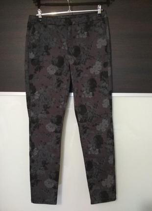 Стильные модные штаны джинсы в цветы promiss