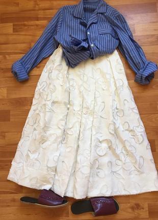 Ermanno scervino,оригинал, юбка миди, шёлк натуральный, лен