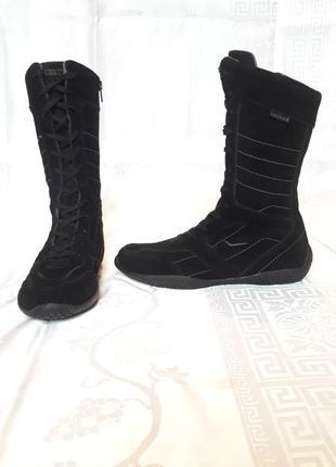 Кожаные спортивные сапоги высокие ботинки со шнуровкой кроссовки