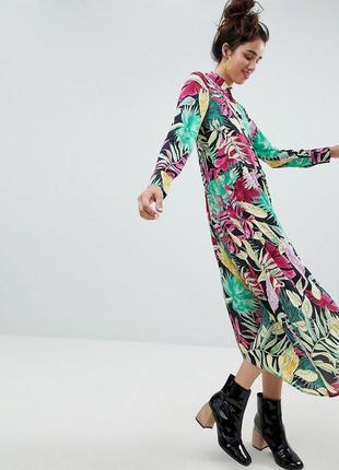 Платье рубашка миди сорочка тропический принт monki l xl xxl оверсайз oversize asos
