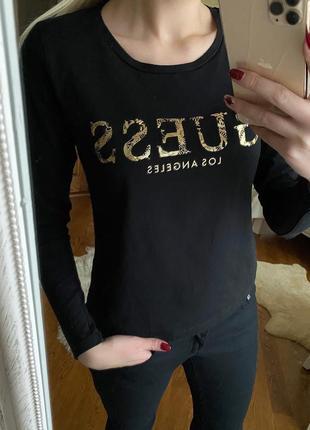 Шикарная черная кофта от известного бренда guess с кружевной спиной/ажурная спина