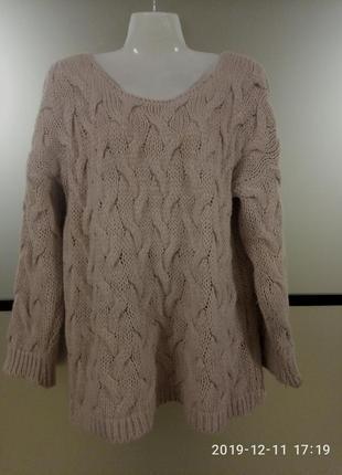 Теплый уютный свитерок цвет пудры,oversize