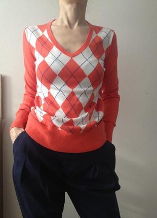 Хлопковый пуловер tommy hilfiger в модные ромбы