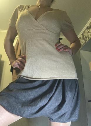 Интересная юбка с кожаным пояском intrend