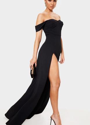 Платье макси с разрезом prettylittlething,  размер 4