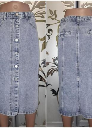 Джинсовая юбка ниже колен, на кнопках, 42-44