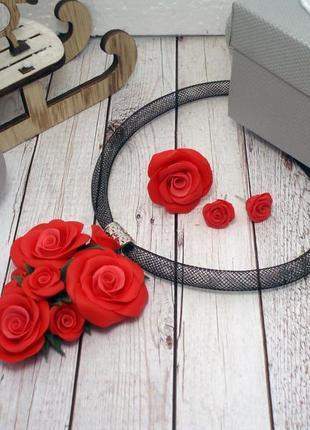 Набор украшений кулон чокер кольцо и серьги красные розы