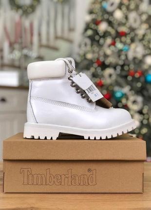 Шикарные женские зимние ботинки/ сапоги timberland white 😍 (на меху)