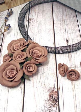 Набор украшений кулон чокер кольцо и серьги розы беж капучино