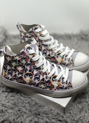 Высокие кеды с котом  sad cat, бренд skechers