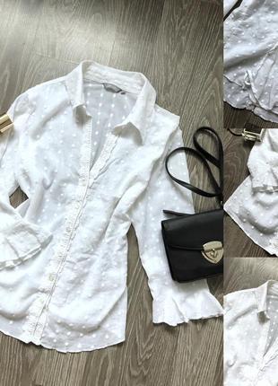 Біла сорочка з корсетом ззаді і вишитою крапочкою