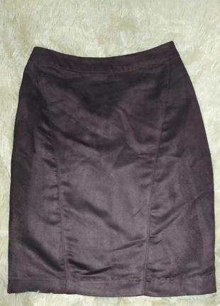 Стильная юбка-карандаш из искусственной замши