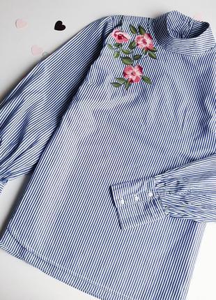 Stradivarius шикарная рубашка с вышивкой
