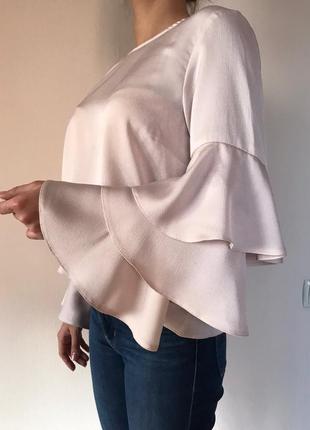 Блузка new look/блузка с воланами/цвет пудра/нарядная блузка/модная блуза
