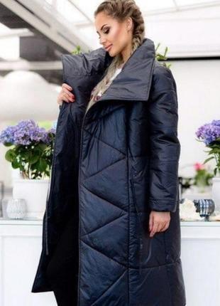 Пуховик чёрный куртка дутик пальто зимнее чёрное длинное прямое с карманами