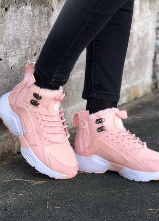Удобные кроссовки nike air huarache с мехом в розовом цвете /осень/зима/весна😍