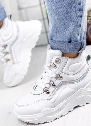 ❤ женские белые осенние деми кроссовки  ботинки сапоги полусапожки ботильоны на флисе ❤