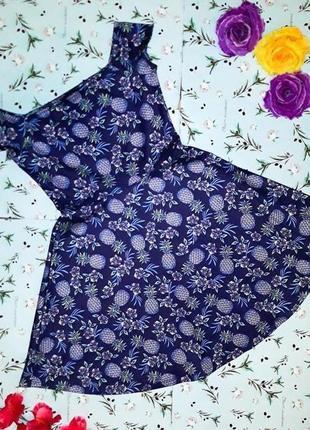 🎁1+1=3 стильное нарядное синее платье с ананасами new look, размер 42 - 44