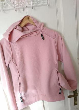 Тепле рожеве фактурне флісове худі з капюшоном від bench, на р. xs/s