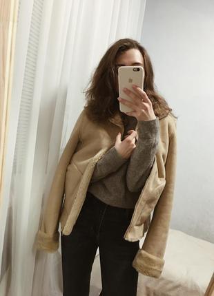 Тёплая бежевая замшевая дубленка, коричневая шуба с мехом, куртка