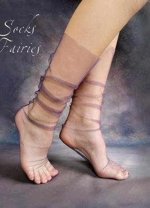 Носки прозрачные из фатина пурпурный шелк/носки сетка/фатиновые носки/socks fairies
