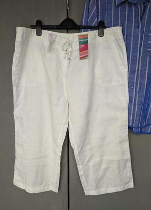 Льняные брюки капри бриджи