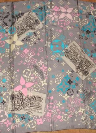 Винтажный шелковый платок louis vuitton travelling requisites винтаж / 84*86 см