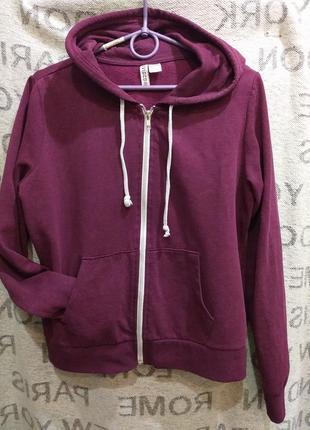 Сливовая фиолетовая капюшонка толстовка h&m