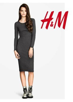 Трикотажное платье, темно-серый меланж, батал.
