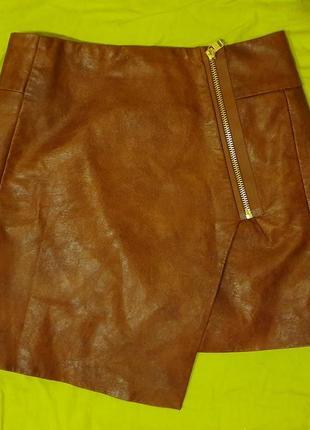 Ассиметричная мини-юбка h&m из экокожи