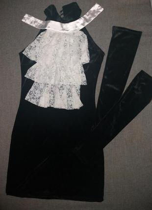 Сексуальное мини платье с жабо и сьемными рукавами черное мини платье велюр