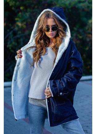 Джинсовая курточка на меху зима