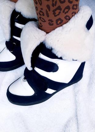 Стильные зимние итальянские замшевые сникерсы/хайтопы на овчине isabel marant sneakers.