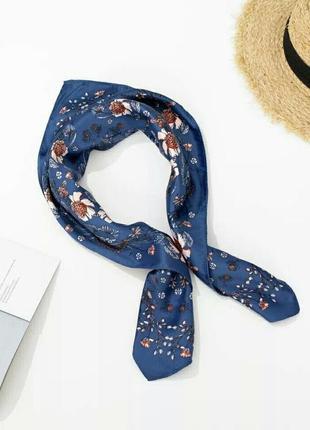 Легкий шифоновый шарф платок цветочный принт синий квадратный мягкий удобный