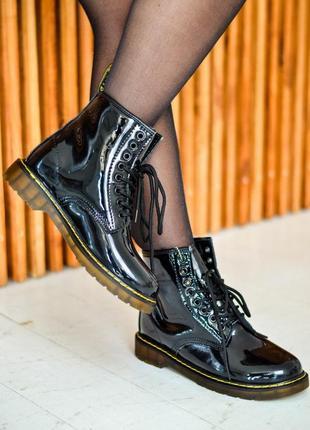 Dr.martens зимние ботинки мартинс с лакированной кожей/осень/зима/весна😍